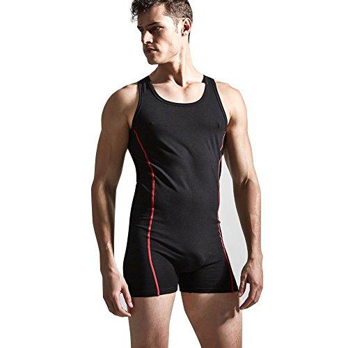 Tiaobug Herrenbody Männerbody Einteiler Body Overall Unterwäsche Baumwolle Muskel Shirt Unterhemd M-XL