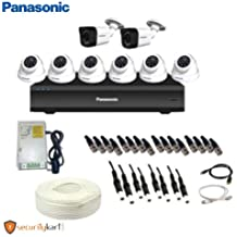 Panasonic 1MP CCTV Camera Kit with 6 Dome Camera, 2 Bullet Camera, Power Supply, 8 Ch DVR and 90 Meter Cable with Connectors (White)