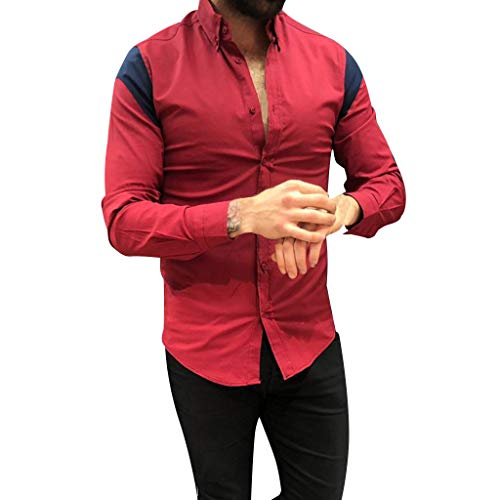 DNOQN T Shirt Lang Slim Fit Pullover Herren Männer Gestreift Spleißen Taste Langarm Shirt Mode Langarm Bluse Top S