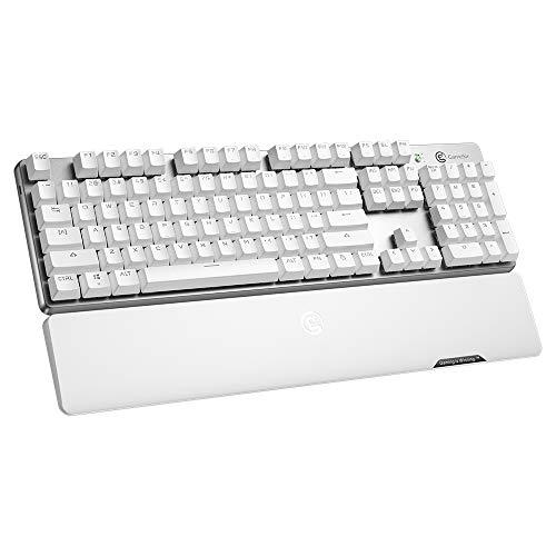 GameSir GK300 Drahtlose mechanische Gaming-Tastatur mit roten Schaltern, QWERTY-Layout Vollständige Tastatur 10 Tasten Anti-Ghosting, LED-Hintergrundbeleuchtete Tastatur für Windows PC - Weiß