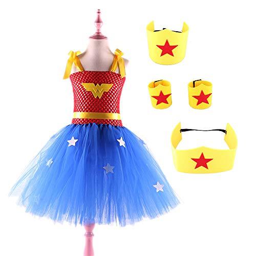 LJJY Mädchen Kleid Wonder Woman Tutu vierteiliges Set Stirnband Hoop Handband Gürtel Halloween Kostüm Party Kostümieren Urlaub Geburtstagsgeschenk Ball Kostümieren,XXL (Wonder Woman Kostüm Tutu)