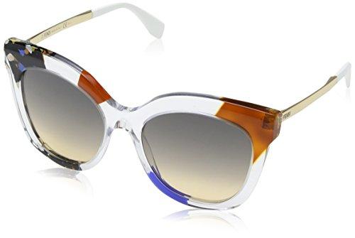 Fendi ff 0179/s eg tkt, occhiali da sole donna, oro (crystal gold/brown ochra), 53