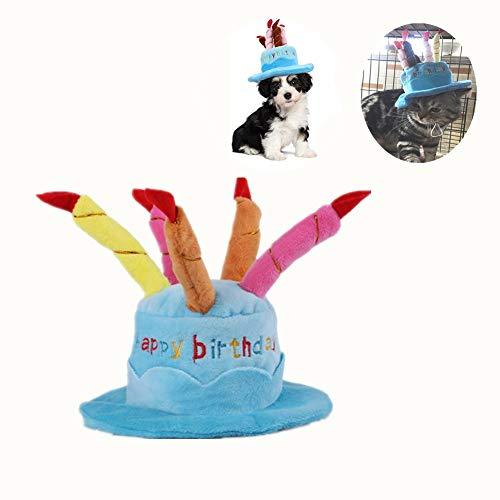 (Kuiji Haustier-Geburtstagshut, süßer Hund Geburtstag Hut mit Verstellbaren Bunten Kerzen für große mittelgroße Kleine Hunde & Katzen und Welpen, Party-Zubehör (blau))