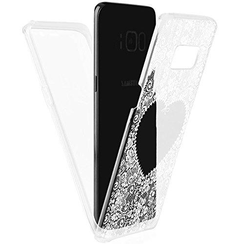 EGO® Double Touch Case für Samsung Galaxy S8 Plus MGL026 weiße Spitze 360 ° Grad komplette TPU Silikon Hülle vorne hinten Beidseitiger Schutz Full Handy Tasche transparent Front Back doppelseitig