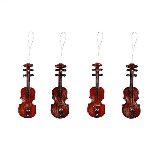 greedeko Miniatur Geige Violine Zum basteln selbstgestalten Holz 4 Stk Set DIY Deko Mini StreichInstrument 8cm