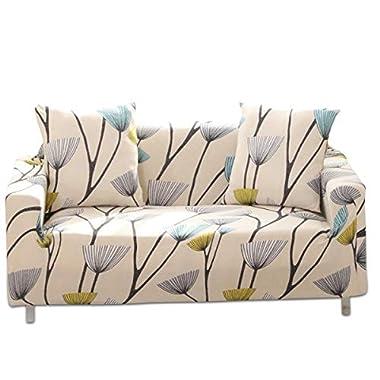 Fashion·LIFE Sofabezüge 1Sitzer Elastischer Sofaüberwurf Blumen-Muster Schonbezug Polyester Multifunktio Couchabdeckung Wohnkultur für Ganze Saison,Beige