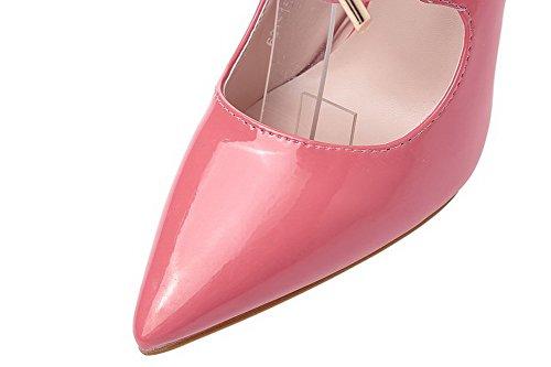 AalarDom Femme à Talon Haut Pointu Lacet Couleur Unie Chaussures Légeres Rose-Bouche de Poisson