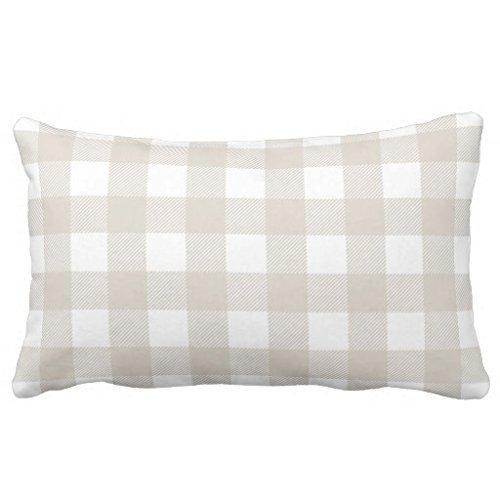 Check-standard Pillow Sham (NFHRRe Standard Pillowcase Decorative Linen Beige Preppy Buffalo Check Plaid King Size Pillow Sham Inches)