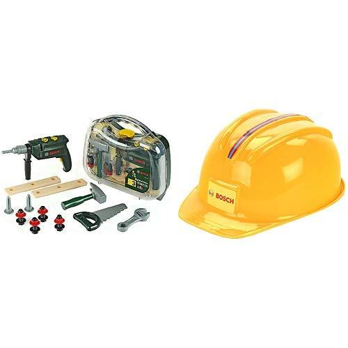 Theo Klein 8416 - Bosch Werkzeugkoffer, groß, transparent, Spielzeug &  Klein 8127 - Handwerkerhelm, 28cm