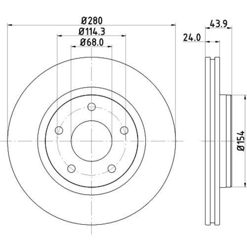 HELLA PAGID 8DD 355 117-321 Bremsscheibe PRO, Vorderachse, Oberfläche beschichtet, Set aus 2 Bremsscheiben