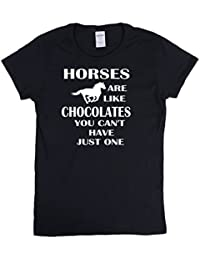 Jh printing Ladies T Shirt Horses Are Like Chocolates You Can't Just Have One Novelty Christmas Birthday Gift For Horse Lovers