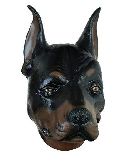Dobermann Kostüm - Horror-Shop Dobermann Kampfhund Latex Maske