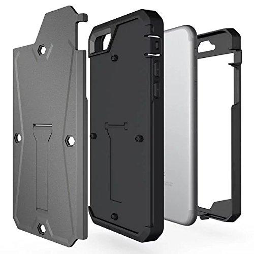 """iPhone 7 Hülle,Lantier schroffer Behälter Doppelschicht hybride volle Körper schützende harte Fall Abdeckung mit Kickstand und eingebautem Schirm Schutz für iPhone 7 2016 4.7"""" Argent Tank Grey"""