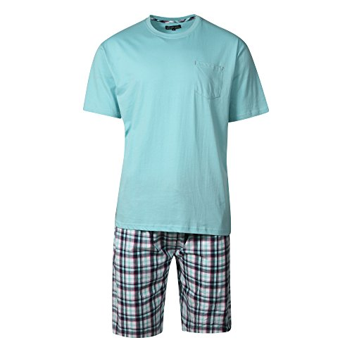 mens-100-cotton-shorts-pyjamas-aqua-top-with-navy-aqua-check-shorts-sizes-s-m-l-xl-xxl-xlarge