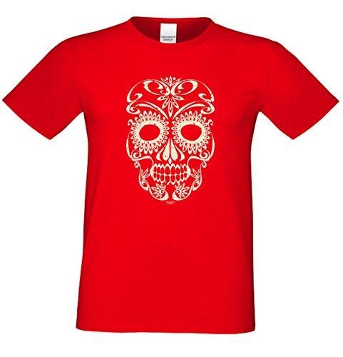 Halloween T-Shirts Herren Fun-Motiv Skull gruselige Geschenkidee Party-Outfit Kostüm Hexen Gespenster Geister Farbe: rot Rot