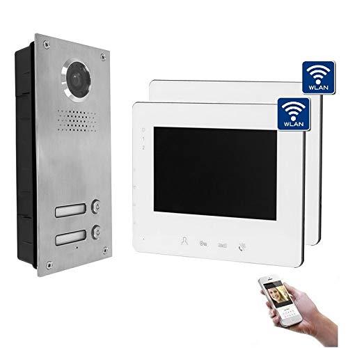 2-Draht Bus IP Video Türsprechanlage, 2 Familienhaus Set, 7'' Monitor, Farbe: 2x7'' Monitor mit WLAN