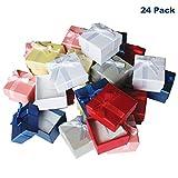 Kurtzy Pack de 24 Cajas para Joyas Anillo Exhibir Regalos con Inserto de Terciopelo Cajas de Presentación de 3,8 x 2,8 cm - Diseño de Lazo y Cinta- Inserto con Ranura para Anillos y Pendientes
