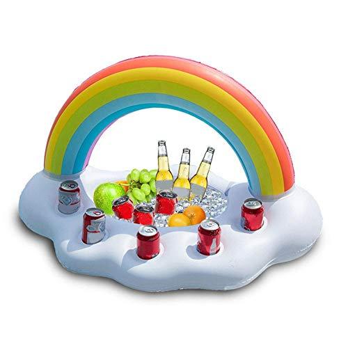 Gonfiabile arcobaleno nube porta bibite galleggiante bevanda insalata frutta servizio bar piscina galleggiante accessori per feste estate spiaggia per il tempo libero portabottiglie per bambini adulti