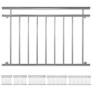 V2Aox Edelstahl Französischer Balkon Geländer Balkongeländer 90 x 100-225 cm, Breite:128 cm