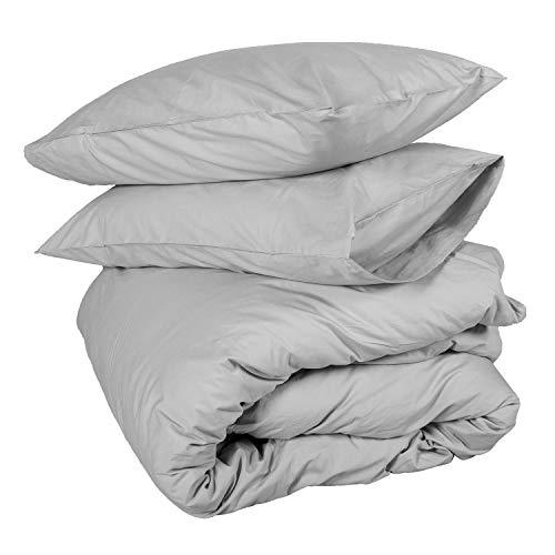 Homescapes Bettwäsche-Set 3-teilig Bettbezug 230 x 220 cm mit Kissenhüllen 48 x 74 cm grau/silbergrau aus 100% reiner ägyptischer Baumwolle Fadendichte 200 Perkal-Bettwäsche -