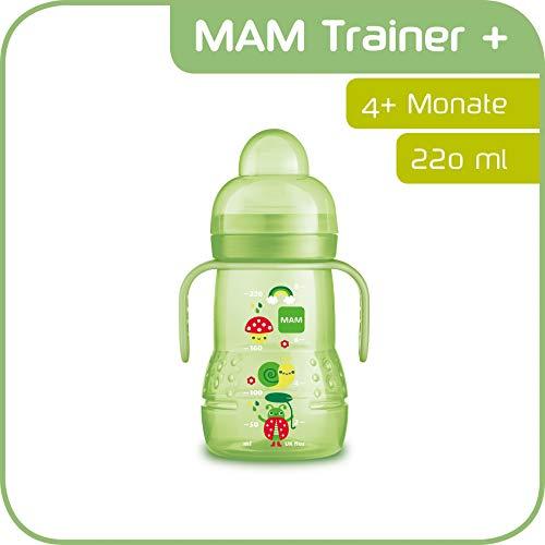 MAM Trainer+ (220 ml), Trinklernflasche für den Übergang zum Becher, auslaufsicherer Trinklernbecher mit tropffreiem Sauger, Trinkschnabel & Haltegriff, 4+ Monate, Tiermotiv, grün