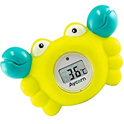 Aycorn Digital Baby Bath and Room Thermometer. Fast and Accurate Water Readings with LED Warning Alarm Ensures Your Child's Safety. Cute Floating Bathtub Toy Makes Perfect Bathtime Fun for Infants