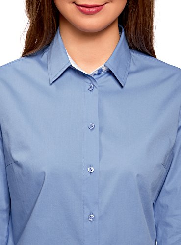 oodji Ultra Damen Bluse mit Kontrastbesatz und 3/4-Ärmeln Blau (7500N)