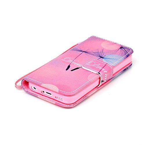 Etche Flip Case pour iPhone 5C,Housse en cuir PU pour iPhone 5C,Coque pour iPhone 5C,Wallet Case pour iPhone 5C,Titulaire Card Slot Folio couverture pour iPhone 5C,Colorful cuir imprimé souple PU stan rêver