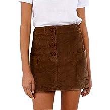 beautyjourney Falda Corta Ajustada de Pana para Mujer Mini Falda de Fiesta  de Verano para Mujer 207a437fbcce