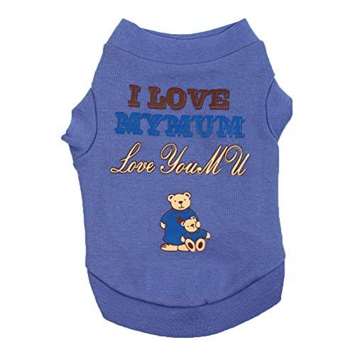 Feidaeu Haustier-Kleidungs-Weste-Hundet-Shirt mit Buchstaben Ich Liebe Mamma und niedlichen Cartoon-Muster bequemes Breathable Haustier-beiläufiges Hemd