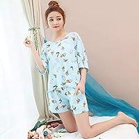 YTNGA Pijamas De Mujer Conjunto de Pijama Conjunto de Mujer Crop Top + Pantalones Cortos Cintura elástica Pijamas Ropa Interior holgadaPijamas, Azul Cielo, L