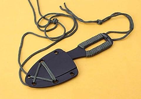 Noir Porcinet Couteau de cou survie, Pendentif Couteau, Cadeau Pour Homme, Neck (Una Lama Pocket Knife)
