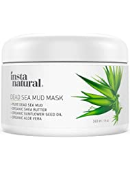 InstaNatural Totes Meer Schlamm-Maske – porenverfeinernde, organische und mit Mineralien angereicherte Maske für fettige & Akne-anfällige Haut. Mit Sheabutter & Aloe Vera – 240 ml