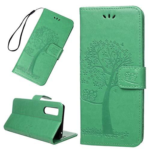 TASoker Handyhülle für Sony Xperia 5 Hülle Wallet Case Eule Flipcase PU Leder Ständer Etui Schale Bookstyle Schutzhülle Ständer Magnetverschluß Karteneinschub Mintgrün