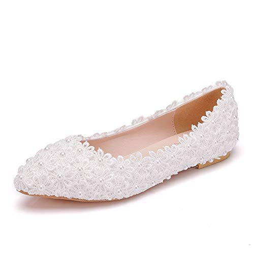 Q&YYUE Brautschuhe Frauen Spitzen Blume Kristall Perle Lace Mutter Schuhe Round Toe Hochzeitsschuhe Elfenbein,White,41 Lace Round Toe Pumps