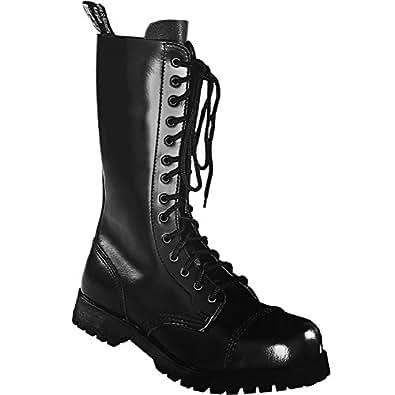 Boots & Braces Bottes rangers avec lacets 14 trous, Noir - Noir - Noir, 37 EU / 3 UK EU