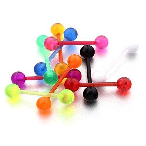10 Stk. Zungen Brustwarzen Piercing Flexibler Stab Ring Barbell Körper Schmuck Piercing Zunge-körper-schmuck