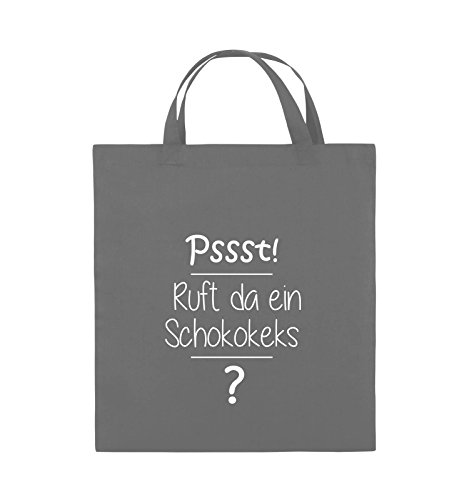 Comedy Bags - Pssst! Ruft da ein Schokokeks? - Jutebeutel - kurze Henkel - 38x42cm - Farbe: Schwarz / Pink Dunkelgrau / Weiss