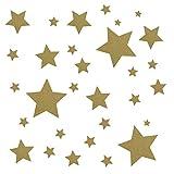 30 Stück goldene Sterne Aufkleber, Fensterdekoration zu Weihnachten Fensterbild/Fensteraufkleber, Wandtattoo