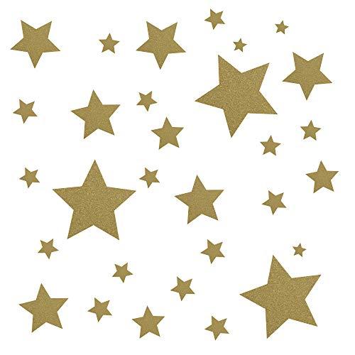 30 Stück goldene Sterne Aufklebe...