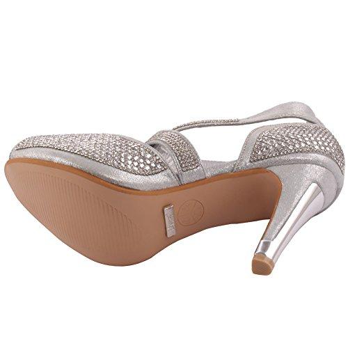 Unze Neue Damen Damen 'Elizza' Kristall Diamante Accentted Niedrige Mitte Stilettabsatz Abend, Hochzeit, Prom Party Sandalen Fersen Schuhe Größe 3-8 - 178-13 Silber