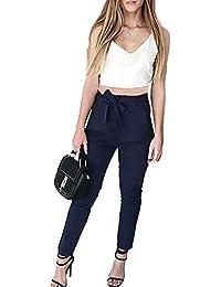 Smalltile Estivo Donne Moda Due Pezzi Moda Sottile Vita Alta Lunghe  Pantaloni con Bendare e Sexy Scollo V Pin… 30a5d8e71e2