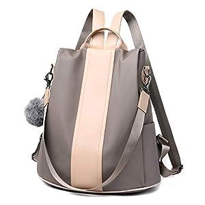 MELANSAY Mochila Antirrobo Mujer De Nylon Bolsos Juveniles Escolares Portatil Impermeable Daypack Mini Mochilas Casual Bolsa De Viaje,Beige