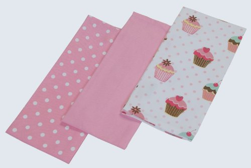 Homescapes Geschirrtücher Set Cup Cakes 3tlg, rosa weiß ca. 50 x 70 cm, Geschirrhandtücher aus 100% reiner Baumwolle, waschbare Trockentücher Geschirr
