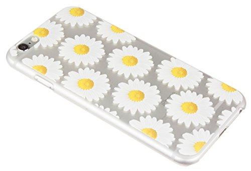 Caseit Inspire Clip-On Hard Shell Hülle Case Cover Etui für iPhone 6/6S - Silber Streifen Daisy Oil Print