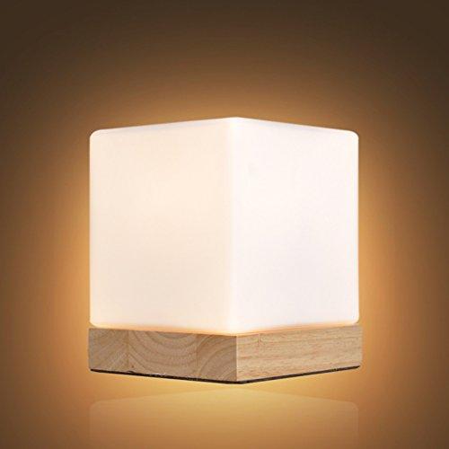 Lampe de glace E27 chêne base verre de nuit 12 * 14cm