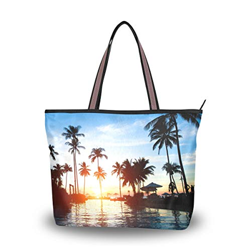 XiangHeFu Damen Handtaschen Tropical Sunrise Landscape Polyester Stoff Umhängetasche -