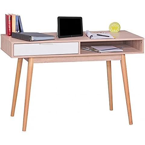 WOHNLING Dise–o Mesa de oficina mesa con caj—n de escritorio de la computadora de Sonoma / blanco moderna con cajones para el almacenamiento de 120 cm de escritorio de ordenador para el joven mesa de ordenador port‡til de tama–o reducido para estudiantes