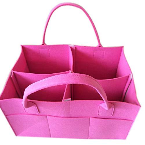 Filztasche Hersteller Großhandel Neue tragbare Filztasche Multifunktions tragbare Mutter und Kind Windel Lagerung@Pink_Groß 38 * 23 * 23 ()