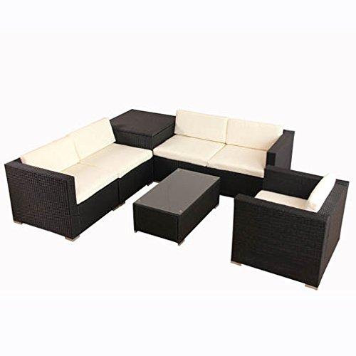 POLY RATTAN Lounge Gartenset Schwarz Sofa Garnitur Polyrattan Gartenmöbel inkl. Kissenbox